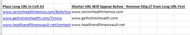 URL trimmer excel
