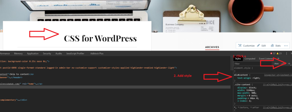 CSS WordPress inspect